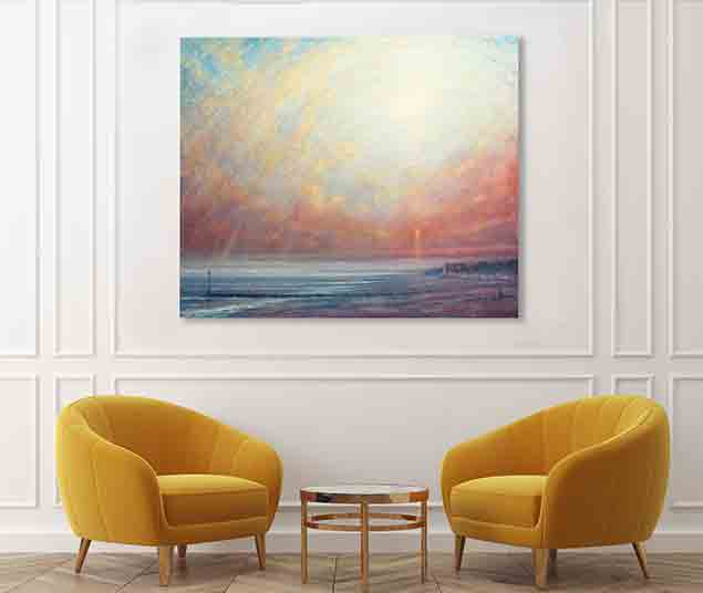 Sunset At Ferring Painting by Derek Hare - white wall