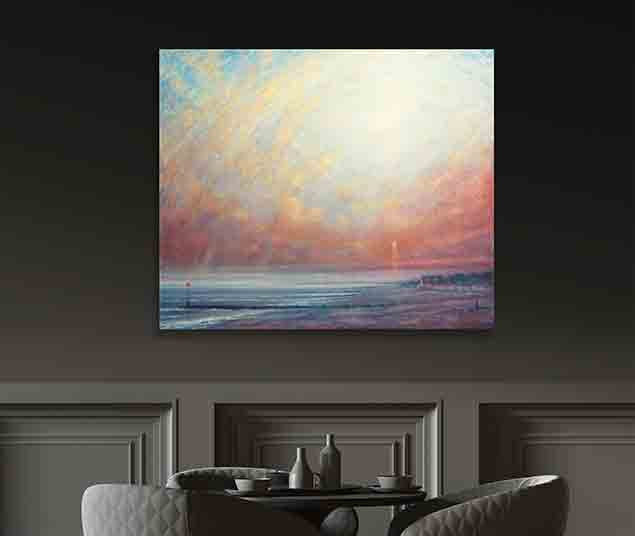 Sunset At Ferring Painting by Derek Hare - dark grey color wall