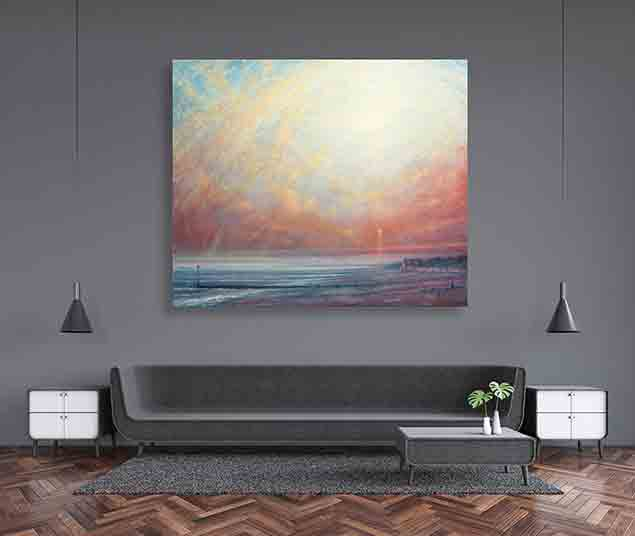 Sunset At Ferring Painting by Derek Hare - living room