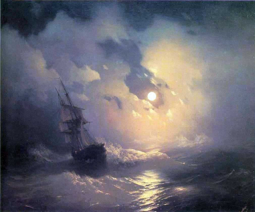 Tempest on the sea at night by Ivan Aivazovsky Reproduction Painting by Blue Surf Art