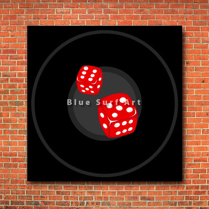 The dice - red bricks wall