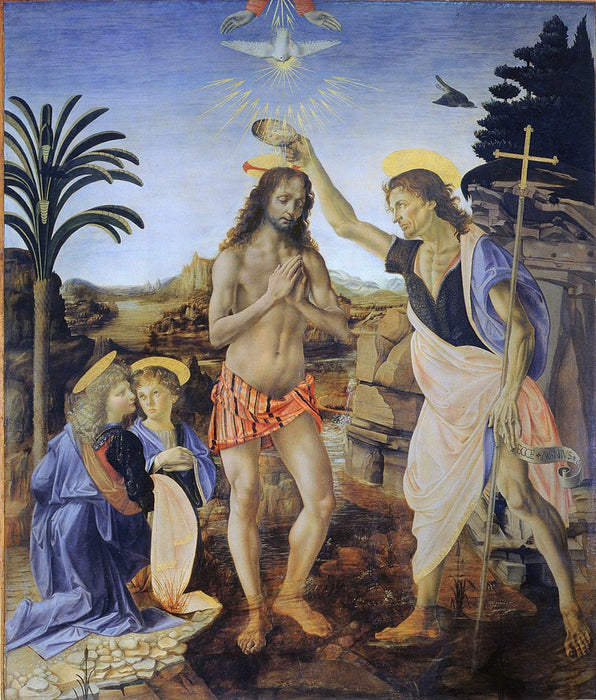 The Baptism of Christ (Verrocchio and Leonardo) reproduction by blue surf art