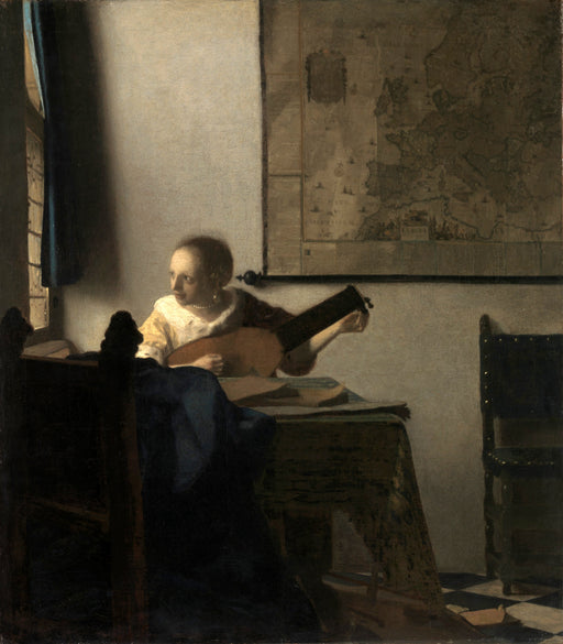 Woman with a Lute by Johannes Vermeer Reproduction Painting by Blue Surf Art