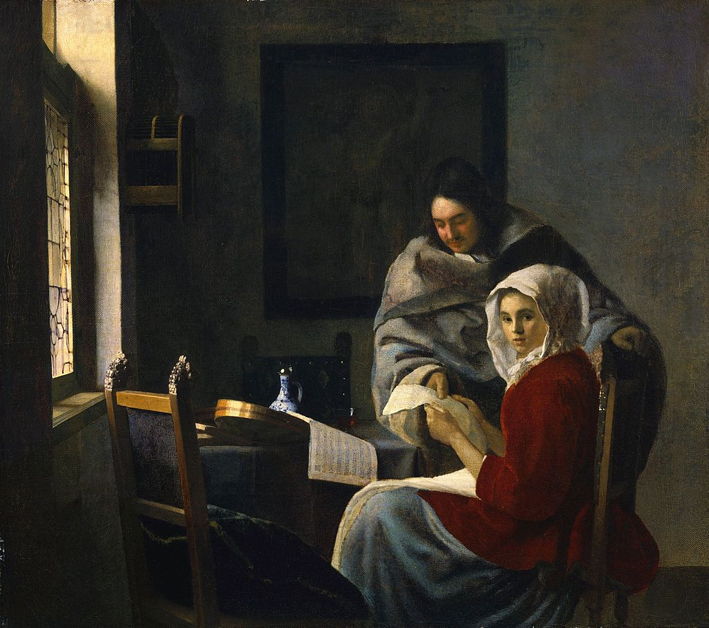 Girl Interrupted at Her Music by Johannes Vermeer. Reproduciton Oil Painting by Blue Surf Art