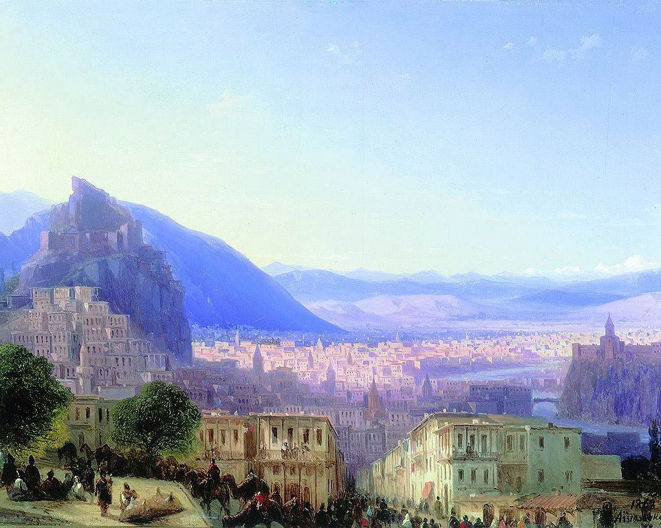 View of Tiflis (Tbilisi) in 1868 by Ivan Aivazovsky Reproduction Painting by Blue Surf Art