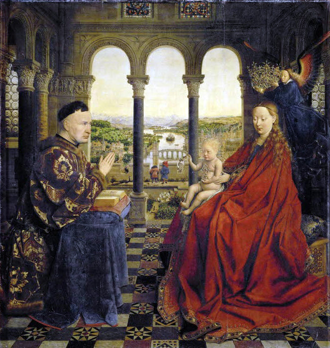 Madonna of Chancellor Rolin by Jan Van Eyck Reproduction Painting by Blue Surf Art