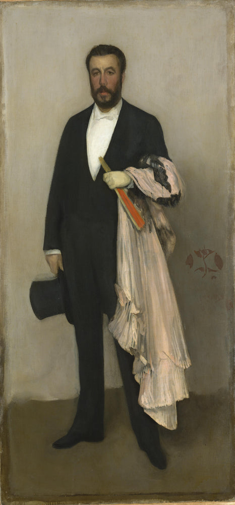 Arrangement in Flesh Colour and Black: Portrait of Theodore Duret by James Abbott McNeill Whistler Reproduction Painting by Blue Surf Art