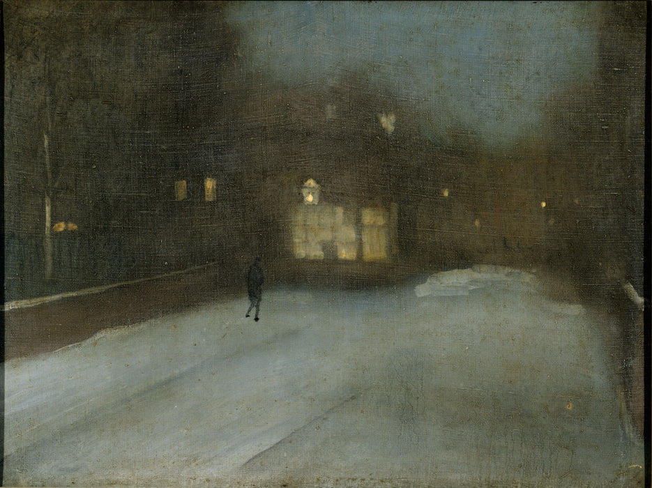 Nocturne in Grey and Gold: Chelsea Snow by James Abbott McNeill Whistler Reproduction Painting by Blue Surf Art