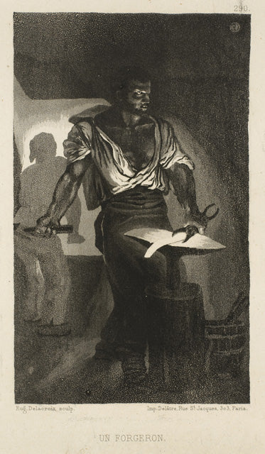 A Blacksmith by Eugène Delacroix Reproduction Painting by Blue Surf Art