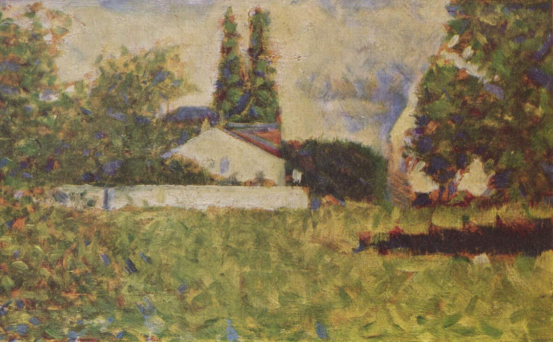 A house between trees by Georges Seurat Reproduction Painting by Blue Surf Art