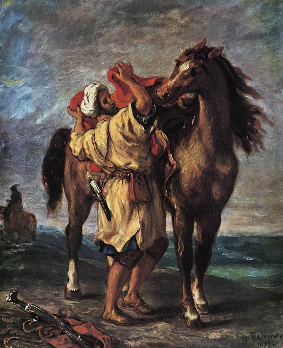 A Moroccan Saddling a Horse by Eugène Delacroix Reproduction Painting by Blue Surf Art