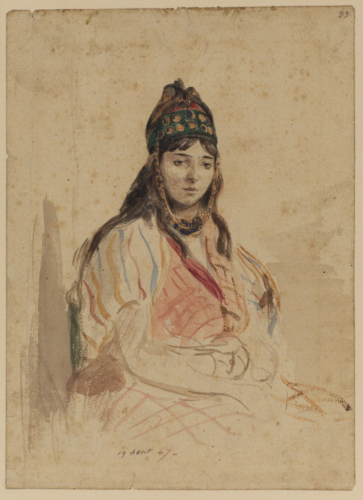 A North African Jewess by Eugène Delacroix Reproduction Painting by Blue Surf Art