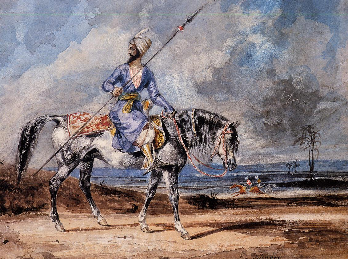 A Turkish Man on a Grey Horse by Eugène Delacroix Reproduction Painting by Blue Surf Art