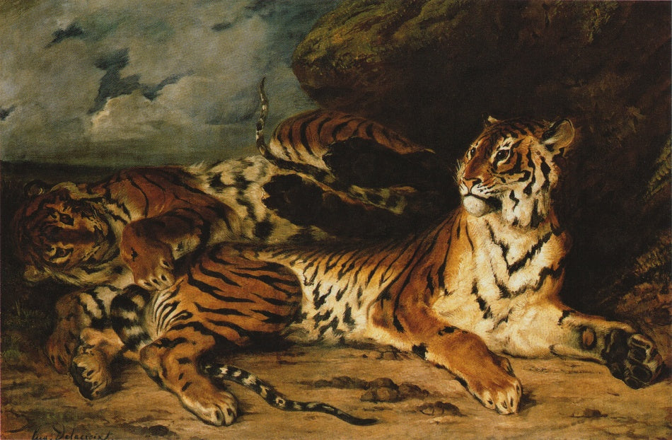 A Young Tiger Playing with Its Mother by Eugène Delacroix Reproduction Painting by Blue Surf Art