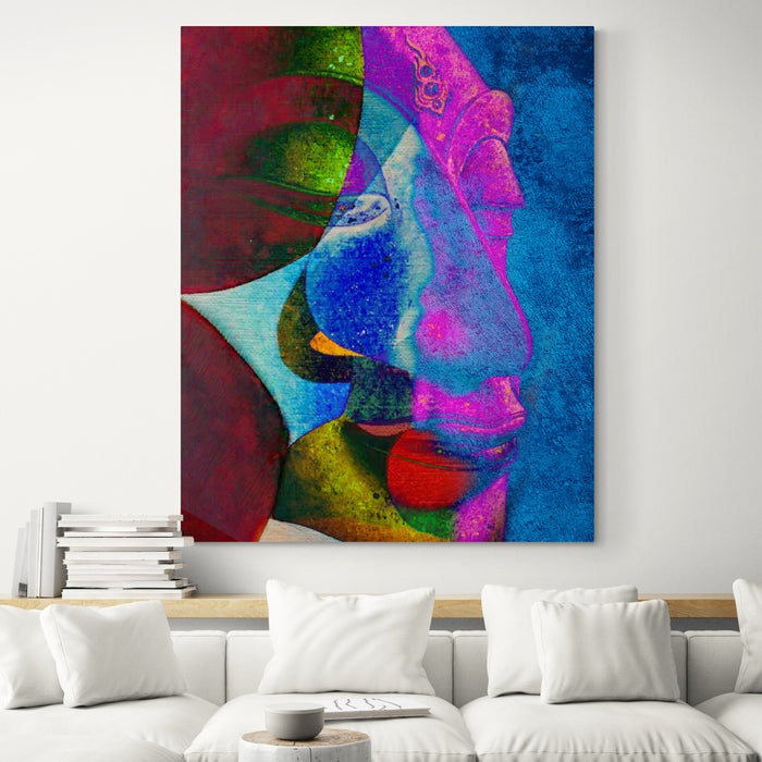 Abstract Multi Colour Buddha Original Oil on Canvas - Living room