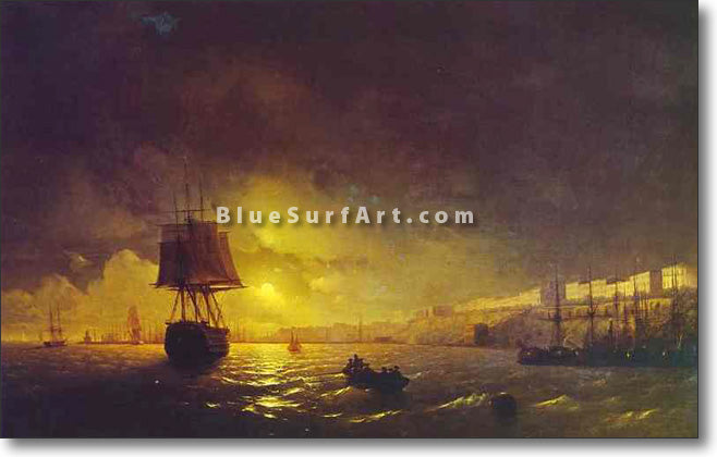 View of Odessa by Moonlight by Ivan Aivazovsky Reproduction Painting by Blue Surf Art