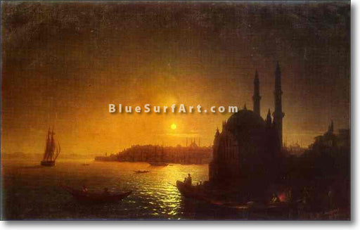 View of Constantinople by Moonlight by Ivan Aivazovsky Reproduction Painting by Blue Surf Art