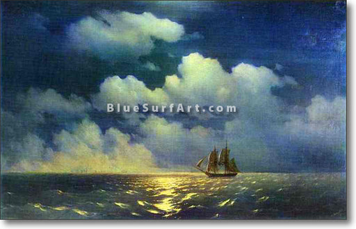 Meeting of the Brig Mercury with the Russian Squadron by Ivan Aivazovsky Reproduction Painting by Blue Surf Art