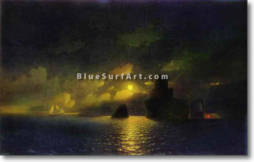 Moonlit Night by Ivan Aivazovsky Reproduction Painting by Blue Surf Art