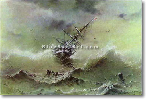 Storm by Ivan Aivazovsky Reproduction Painting by Blue Surf Art