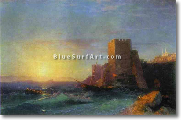 Towers on the Rock Near Bosporus by Ivan Aivazovsky Reproduction Painting by Blue Surf Art