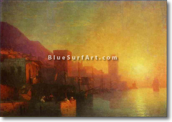 On the Island of Rhodes by Ivan Aivazovsky Reproduction Painting by Blue Surf Art