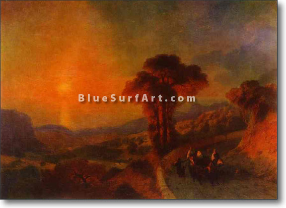 View of the Sea from the Mountains at Sunset by Ivan Aivazovsky Reproduction Painting by Blue Surf Art