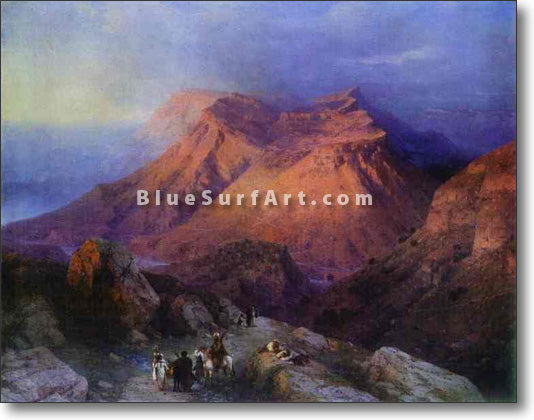 Mountain Village Gunib in Daghestan by Ivan Aivazovsky Reproduction Painting by Blue Surf Art