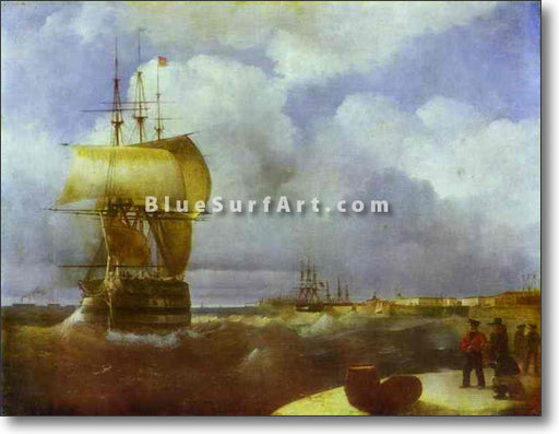 The Great Roads at Kronstadt by Ivan Aivazovsky Reproduction Painting by Blue Surf Art