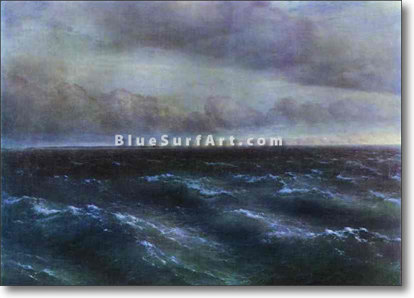 The Black Sea by Ivan Aivazovsky Reproduction Painting by Blue Surf Art by Ivan Aivazovsky Reproduction Painting by Blue Surf Art