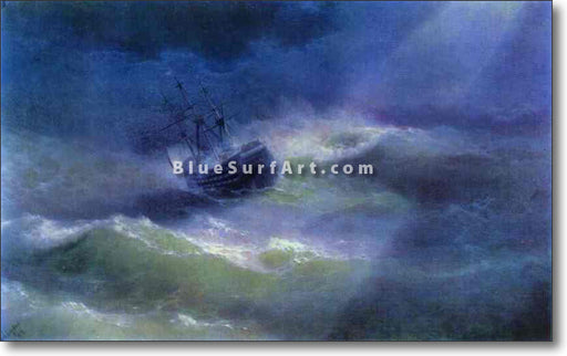 The Mary Caught in a Storm by Ivan Aivazovsky Reproduction Painting by Blue Surf Art