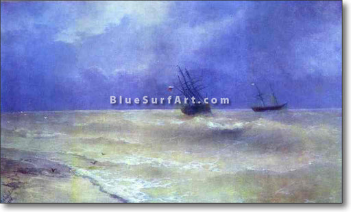 Breakers on the Crimean Coast by Ivan Aivazovsky Reproduction Painting by Blue Surf Art