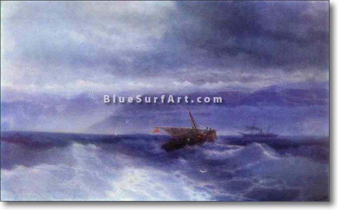 The Caucasian Range from the Sea by Ivan Aivazovsky Reproduction Painting by Blue Surf Art