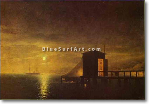 Moonlit Night. A Bathing Hut in Feodosia by Ivan Aivazovsky Reproduction Painting by Blue Surf Art