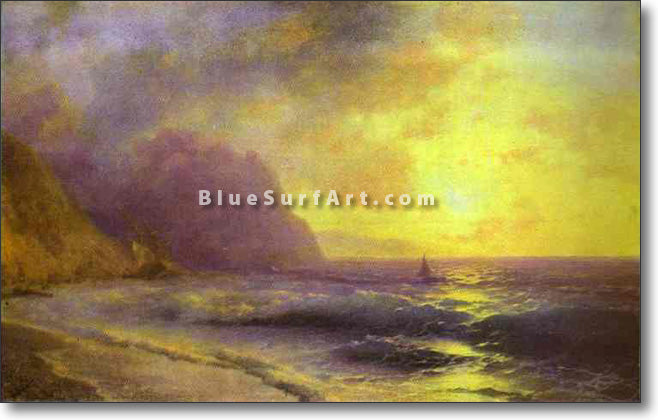 Sunset at Sea by Ivan Aivazovsky Reproduction Painting by Blue Surf Art