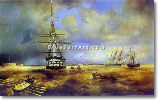 The Roads at Kronstadt by Ivan Aivazovsky Reproduction Painting by Blue Surf Art