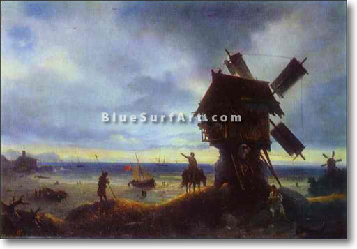 Windmill on the Sea Coast by Ivan Aivazovsky Reproduction Painting by Blue Surf Art