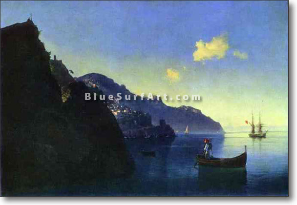 The Coast at Amalfi by Ivan Aivazovsky Reproduction Painting by Blue Surf Art