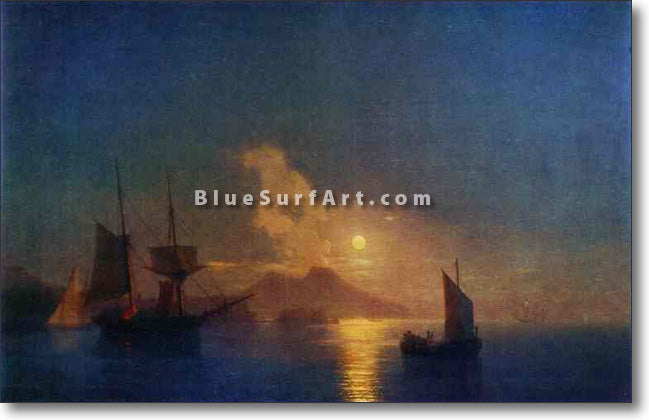 The Bay of Naples by Moonlight by Ivan Aivazovsky Reproduction Painting by Blue Surf Art