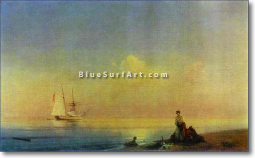 Seashore. Calm by Ivan Aivazovsky Reproduction Painting by Blue Surf Art