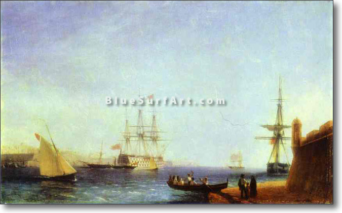 Malta. Valetto Harbour by Ivan Aivazovsky Reproduction Painting by Blue Surf Art