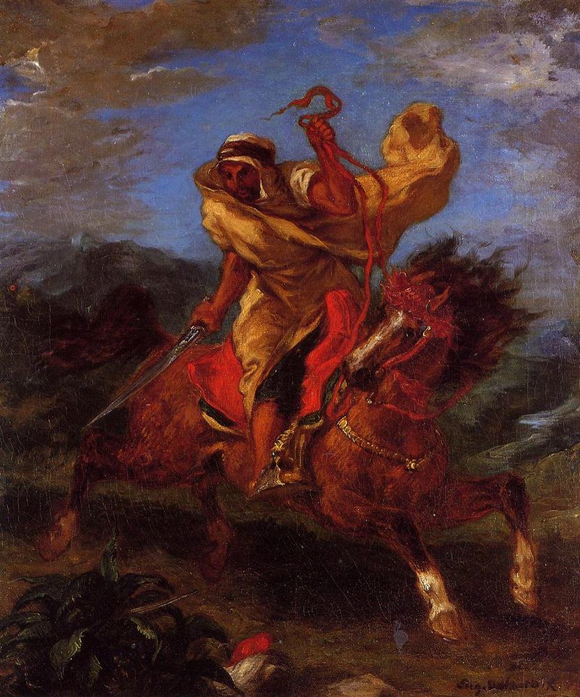 An Arab Horseman at the Gallop by Eugène Delacroix Reproduction Painting by Blue Surf Art