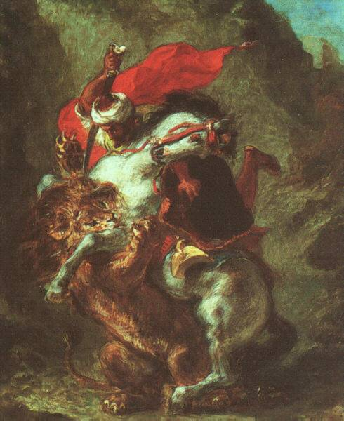 Arab Horseman Attacked by Lion by Eugène Delacroix Reproduction Painting by Blue Surf Art