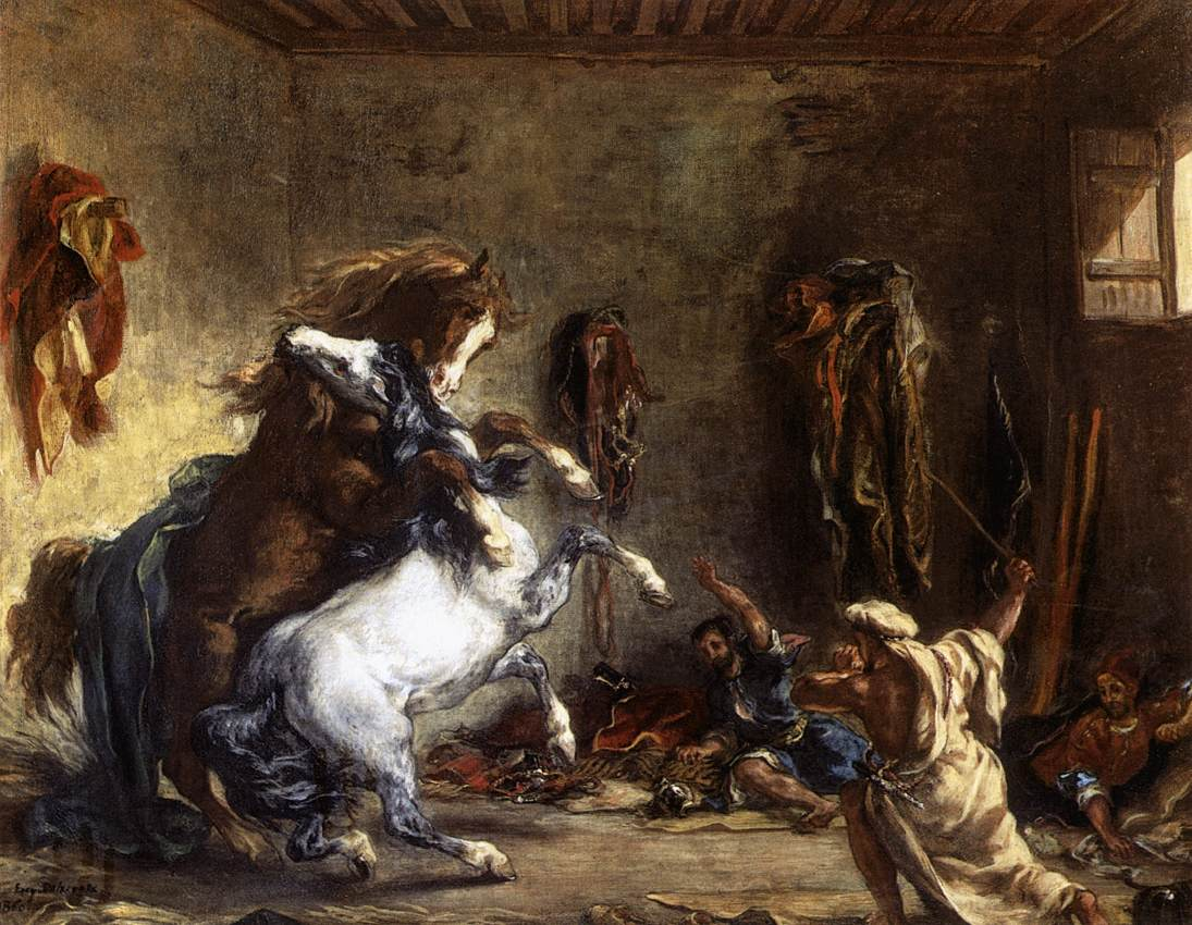 Arab Horses Fighting in a Stable by Eugène Delacroix Reproduction Painting by Blue Surf Art