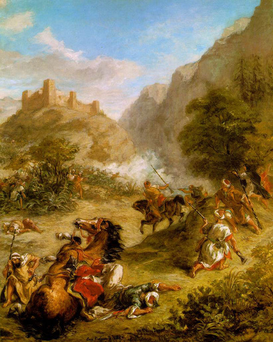 Arabs Skirmishing in the Mountains  by Eugène Delacroix Reproduction Painting by Blue Surf Art