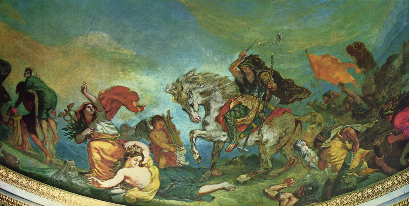 Attila and his Hordes Overrun Italy and the Arts by Eugène Delacroix Reproduction Painting by Blue Surf Art