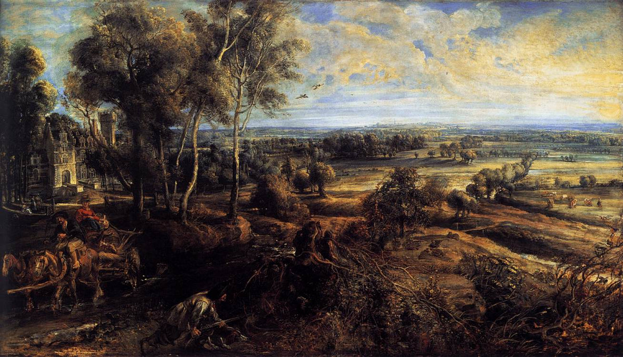 Autumn Landscape with a View of Het Steen by Peter Paul Rubens Reproduction Oil Painting on Canvas