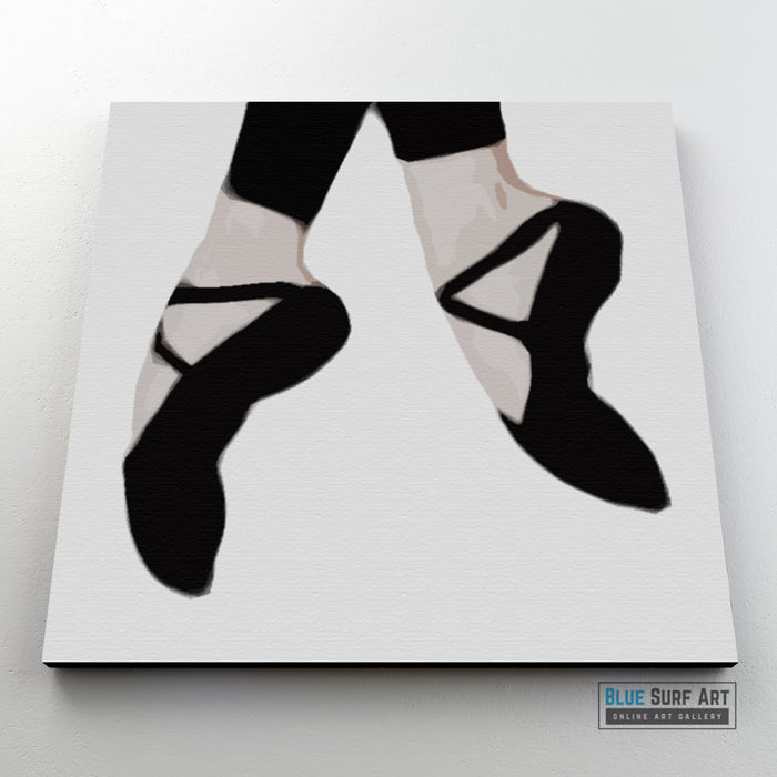 Black Ballet Shoes Wall Art Home Decor, 100% Oil Painting on Canvas