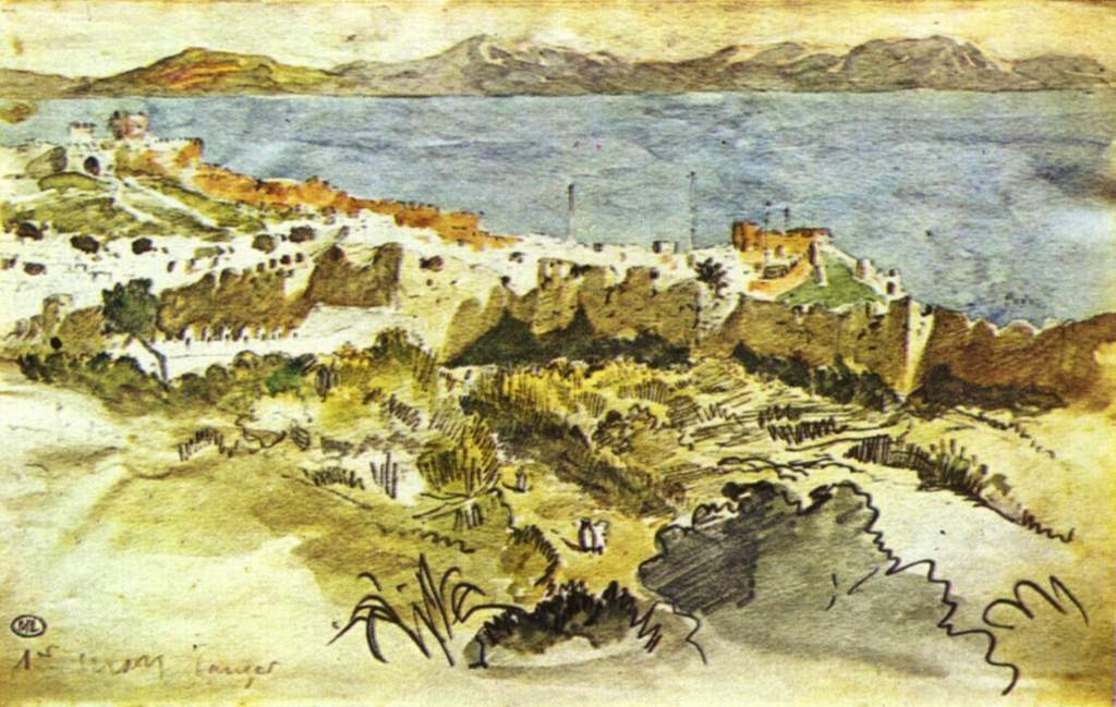 Bay of Tangier in Morocco by Eugène Delacroix Reproduction Painting by Blue Surf Art