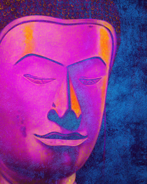 Beautiful Buddha in Pink and Blue Shade Original Oil on Canvas